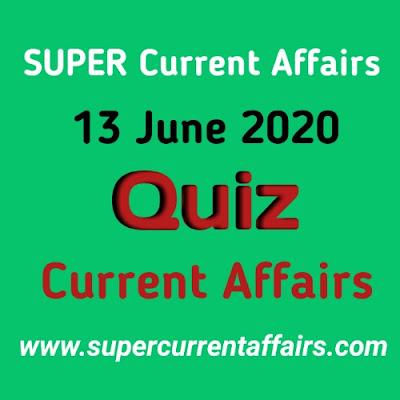 13 June 2020 Current Affairs Quiz in Hindi