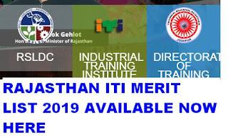 Rajasthan ITI Merit List 2019 Provisional Merit List Available now 1