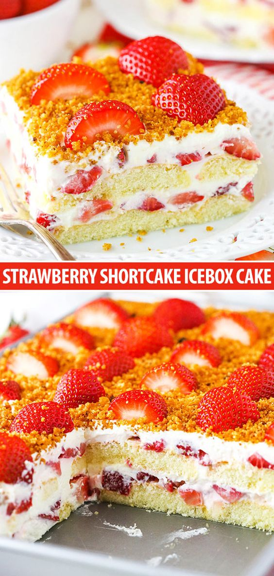 This Strawberry Shortcake Icebox Cake is an easy dessert perfect for summer! Made with fresh strawberries, a cream filling and soft ladyfingers, it's light, simple and layered to perfection!