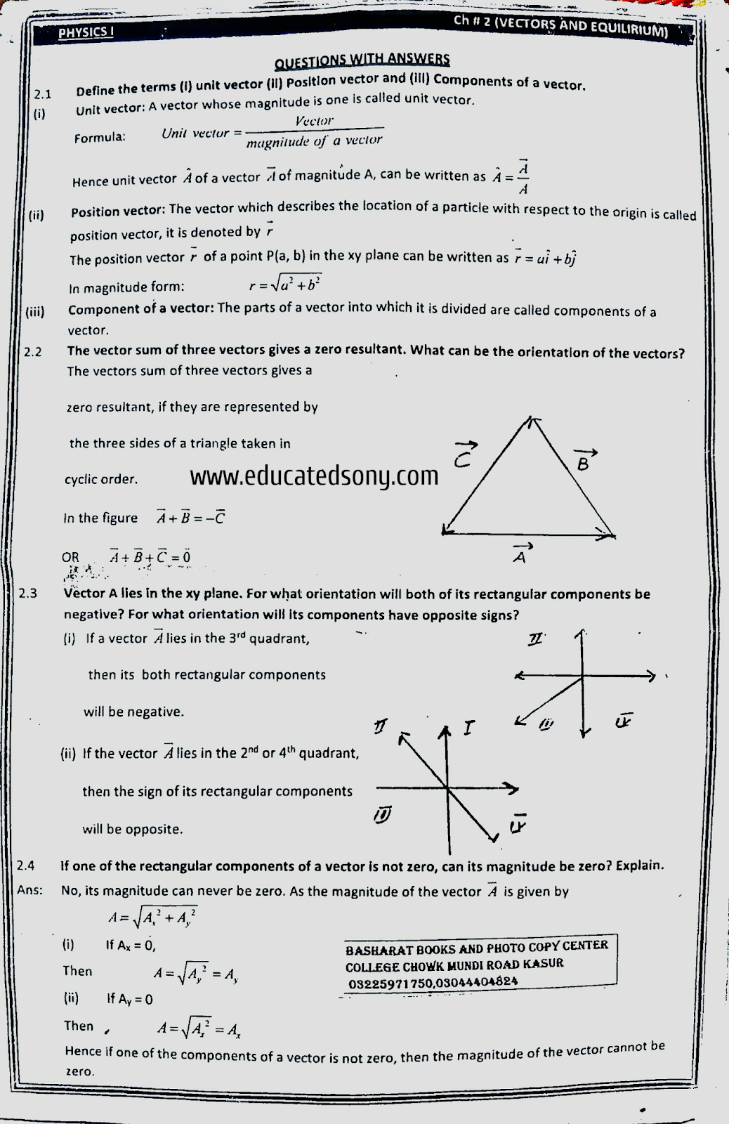 CHAPTER 2 SHORT QUESTIONS-VECTOR AND EQUILIBRIUM,1ST YEAR