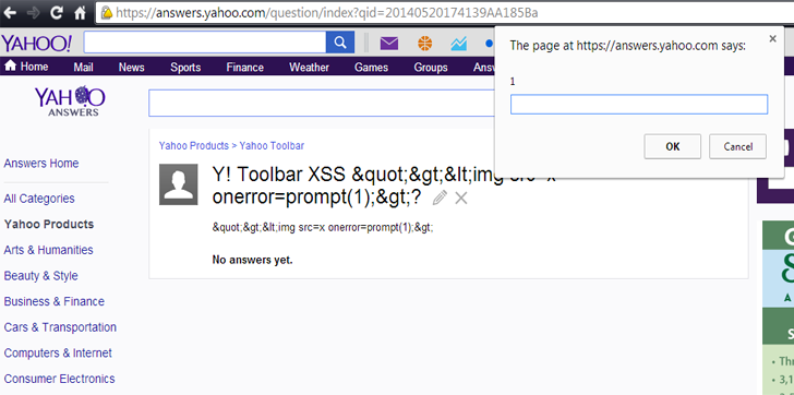 Yahoo Toolbar Vulnerability Triggers Unexploitable XSS Payload on All Websites