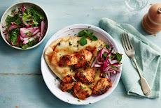 اكلة هندية | دجاج تكا مع خبز نان Chicken tikka and naan bread