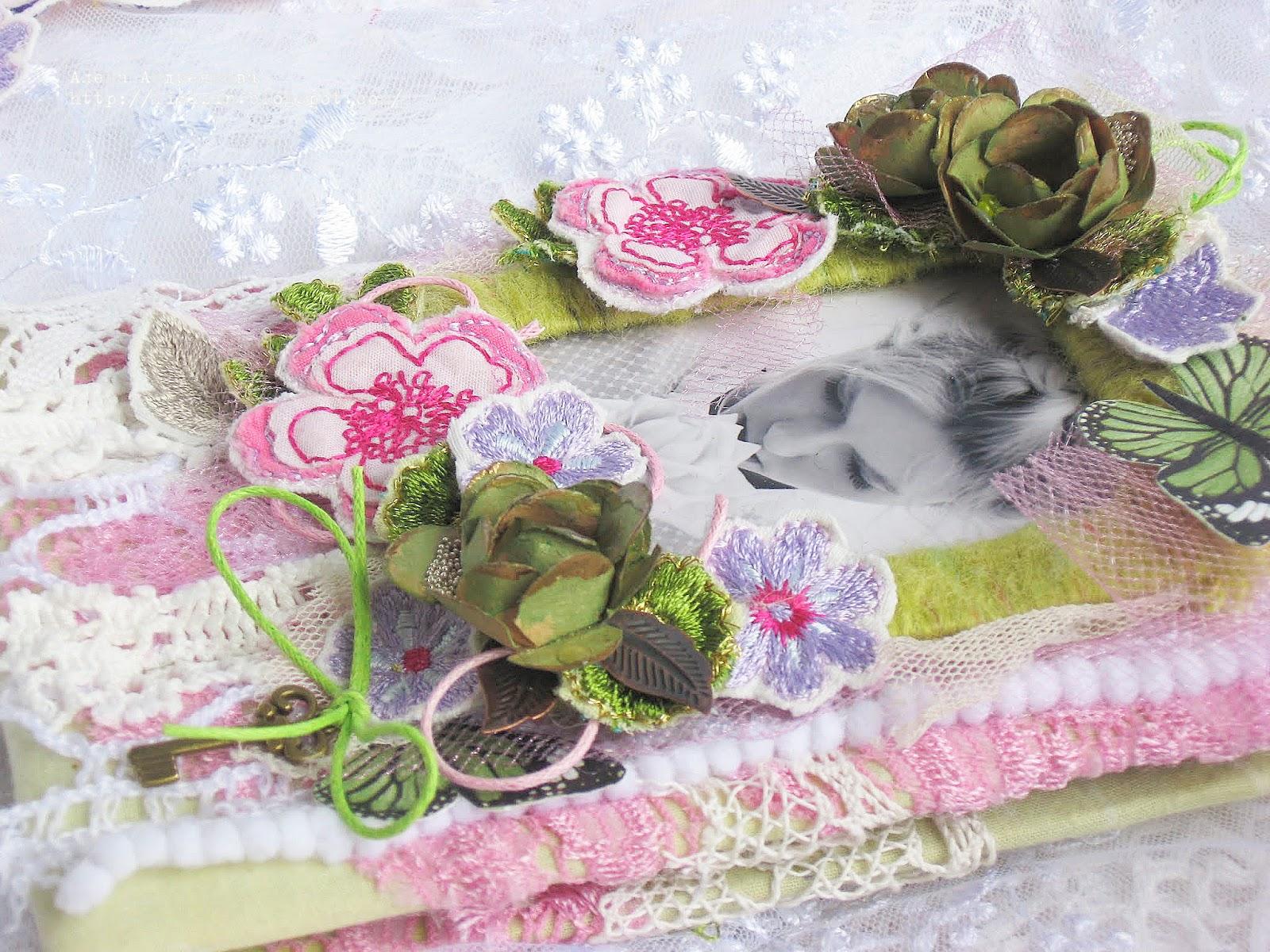 Открытка текстиль, надписями