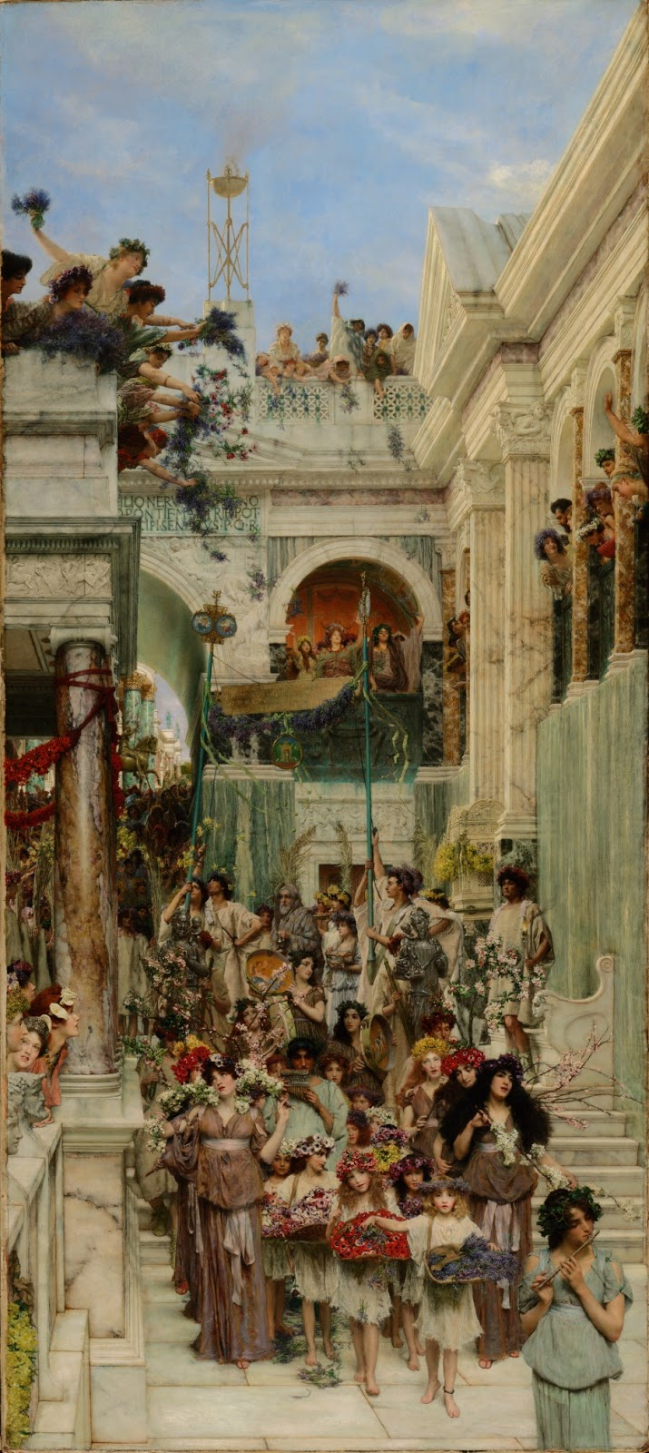 Pintura victoriana con procesión de mujeres y niños con flores descendiendo escaleras de mármol