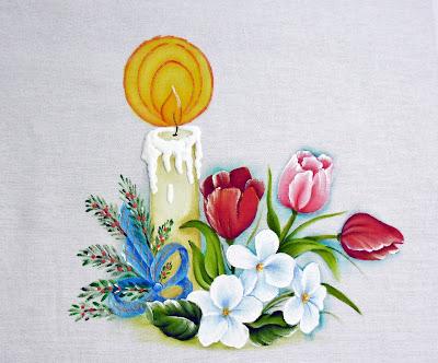 pintura em tecido vela de natal com tulipas e violas brancas