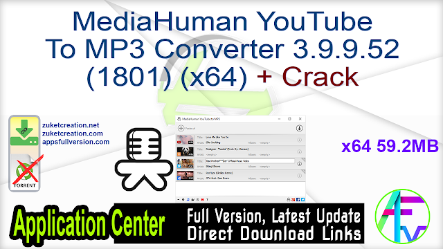MediaHuman YouTube To MP3 Converter 3.9.9.52 (1801) (x64) + Crack
