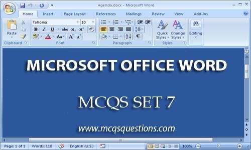 ms office mcqs set 7