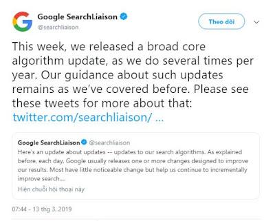 Google phát hành thuật toán lõi mới ngày 12/03/2019