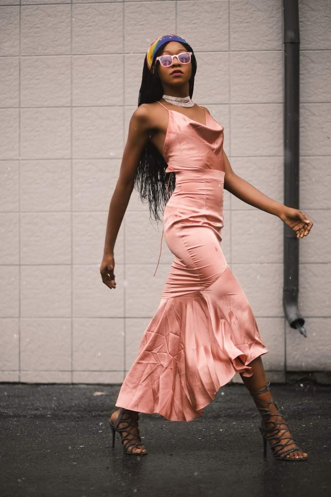 girl in midi evening dress