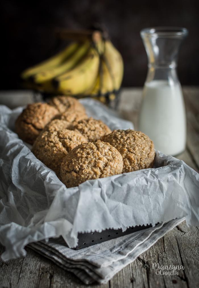 Galletas de plátano, avena y coco sin azúcar añadido