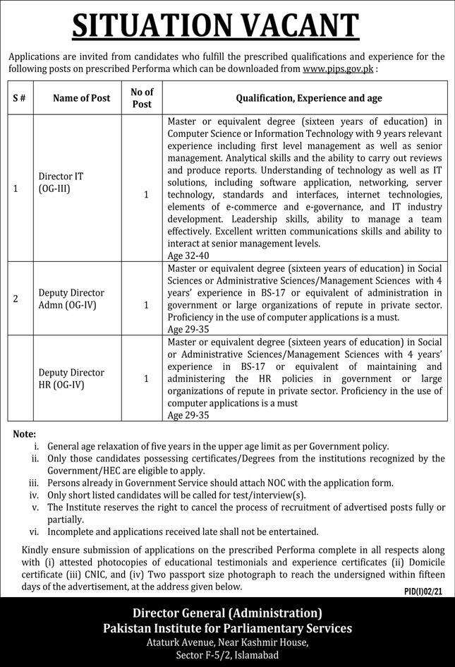 Pakistan Institute for Parliamentary Services (PIPS) Jobs 2021 in Pakistan