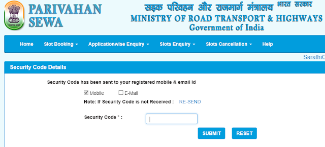 After One Time Password Sarathi Parivahan Book Your DL Test