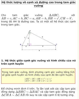Các hệ thức lượng trong tam giác vuông phải thuộc lòng