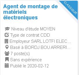 Agent de montage de  matériels électroniques Employeur : SARL LOTFI ELECTRONICS  GEANT BBA