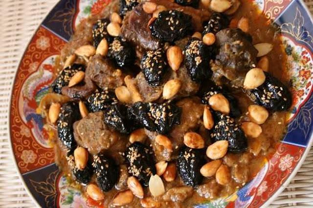 Lamb tajine with prunes and almonds
