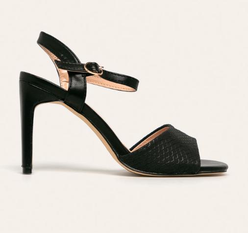 Sandale negre elegante cu toc inalt subtire si varf patrat de zi