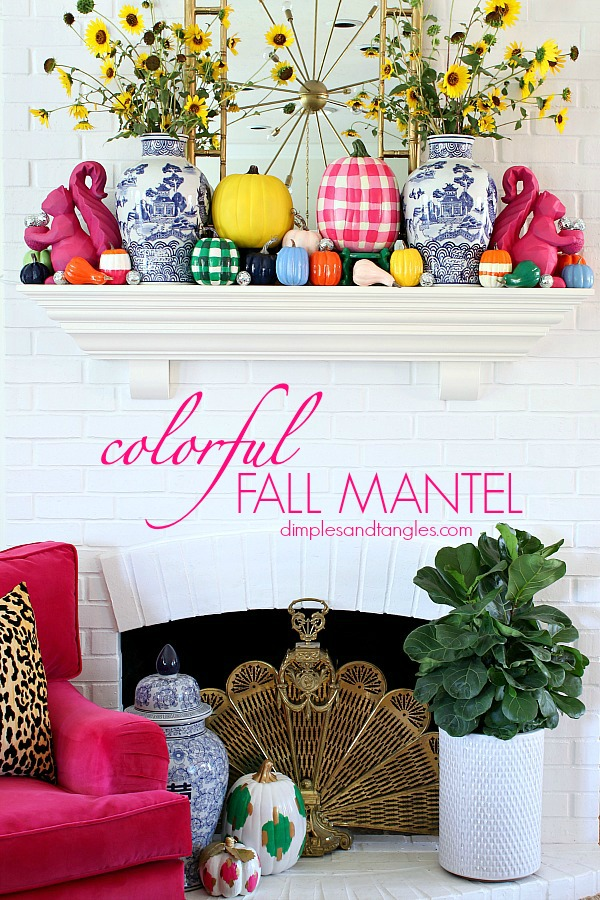 painted pumpkins, blue and white vase, gingham pumpkin, buffalo check pumpkin, fall mantel decorations