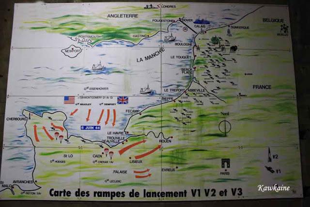 Carte des rampes de lancement V1 V2 V3