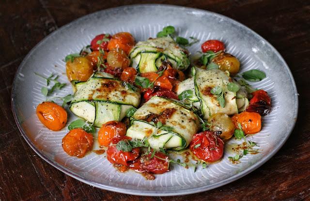 Three-Cheese Zucchini Ravioli in Roasted Cherry Tomato Sauce