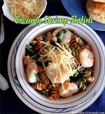 Creamy Shrimp Rotini, fresh shrimp and vegetables are mixed with pasta and served in a creamy sauce. | Recipe developed by www.BakingInATornado.com | #recipe #dinner