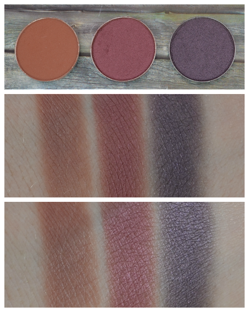 Makeup Geek duochrome eyeshadows cocoa bear, burlesque und drama queen Swatches