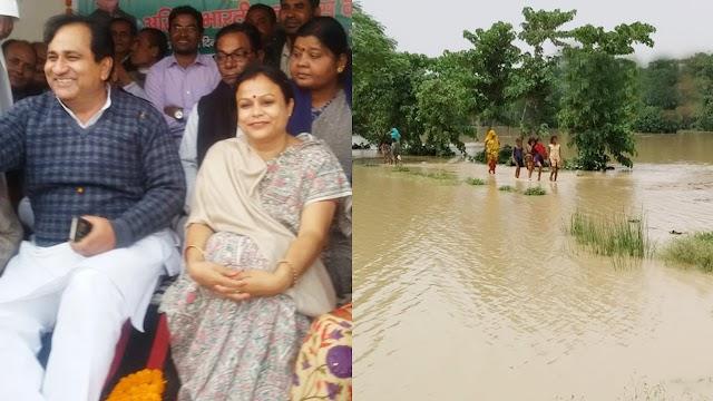 बेनीपट्टी बाढ़ से बेहाल है, विधायक गुरु पूर्णिमा मना रही हैं