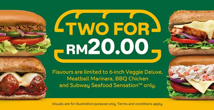 6-Inch Subs By Subway Malaysia Kini Tersedia Dengan Harga RM20 Sahaja!