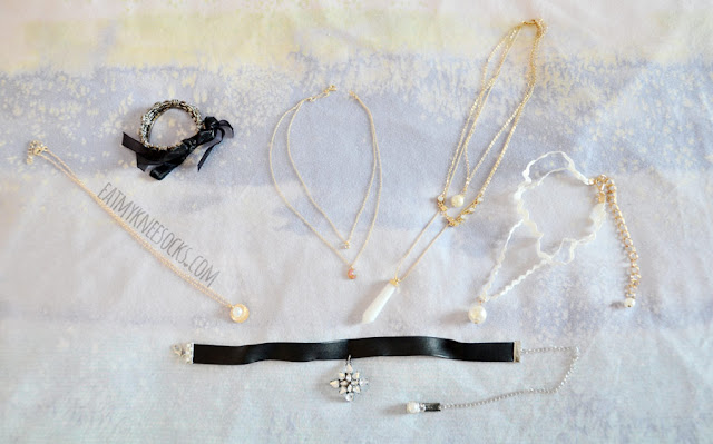 I got six pieces of jewelry and fashion accessories from Born Pretty Store, including 3 chain necklaces, 2 choker necklaces, and 1 bracelet.