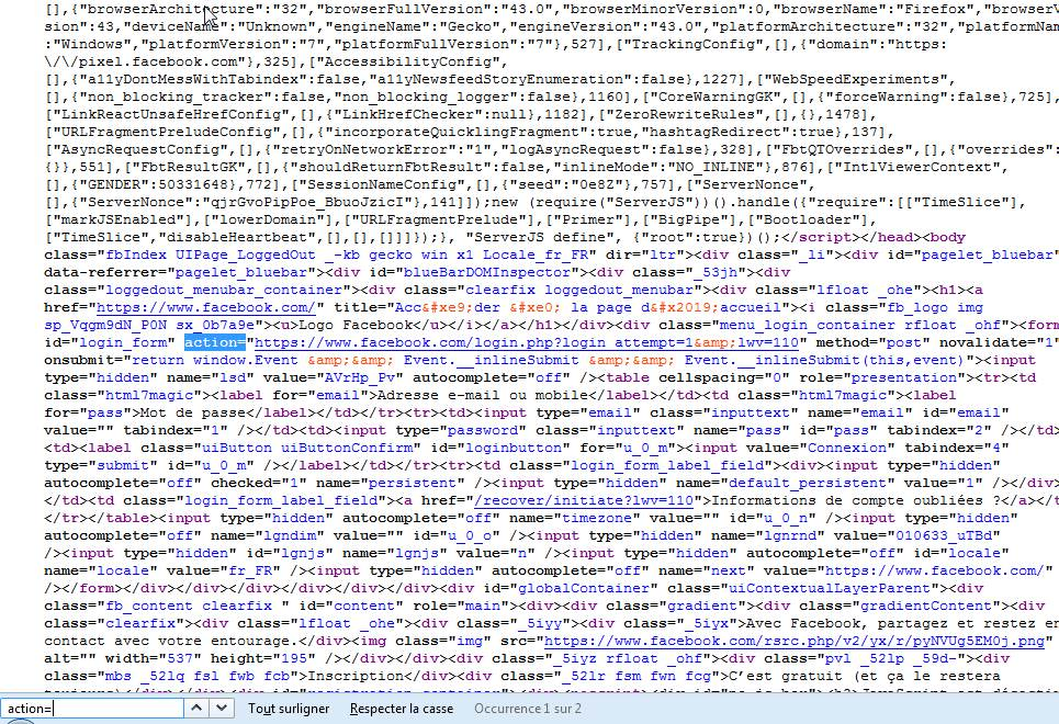 Code source de notre page de phishing facebook