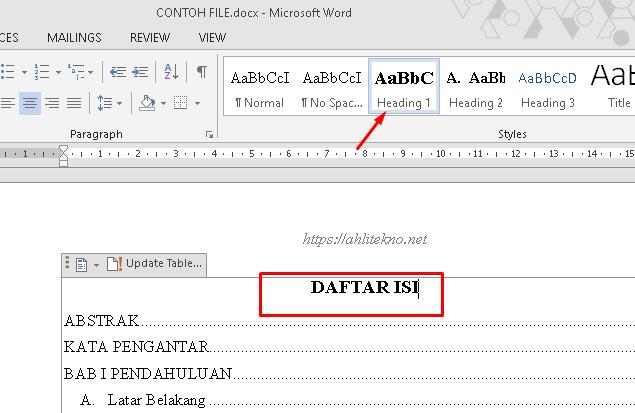 cara membuat daftar isi otomatis di microsof word - mengganti judul table of contents menjadi daftar isi