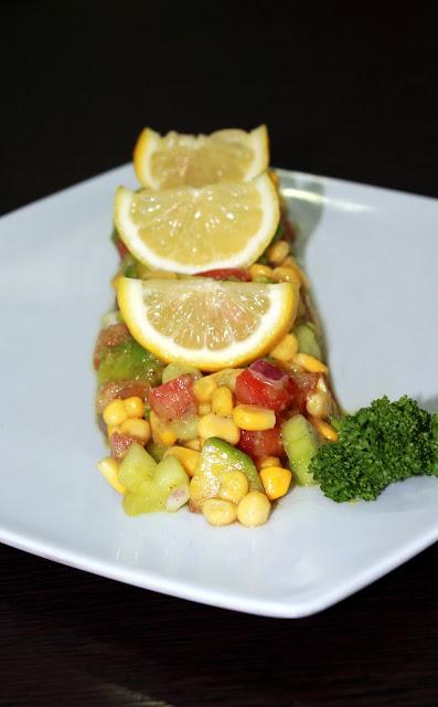 Guacamole with Wheatgrass Lemon Salad