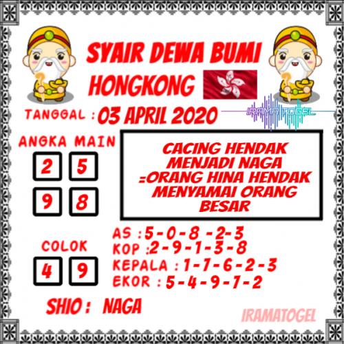 Prediksi HK Jumat 03 april 2020 - Syair Dewa Bumi