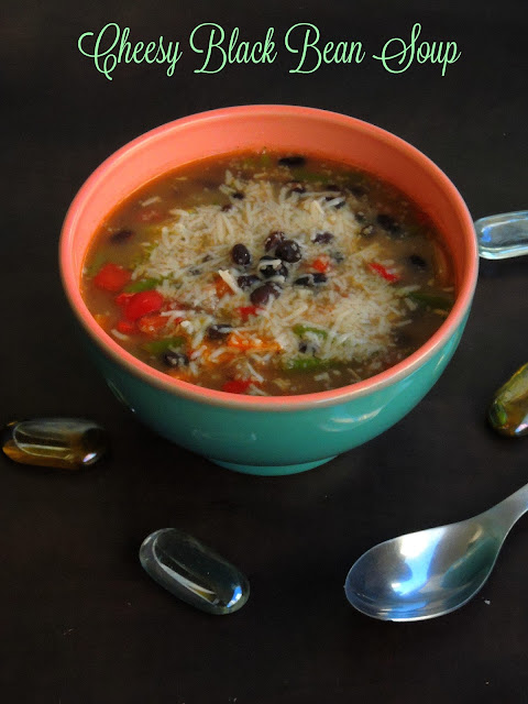 Cheesy Black Bean Soup, Cheese & Vegetable Black bean soup