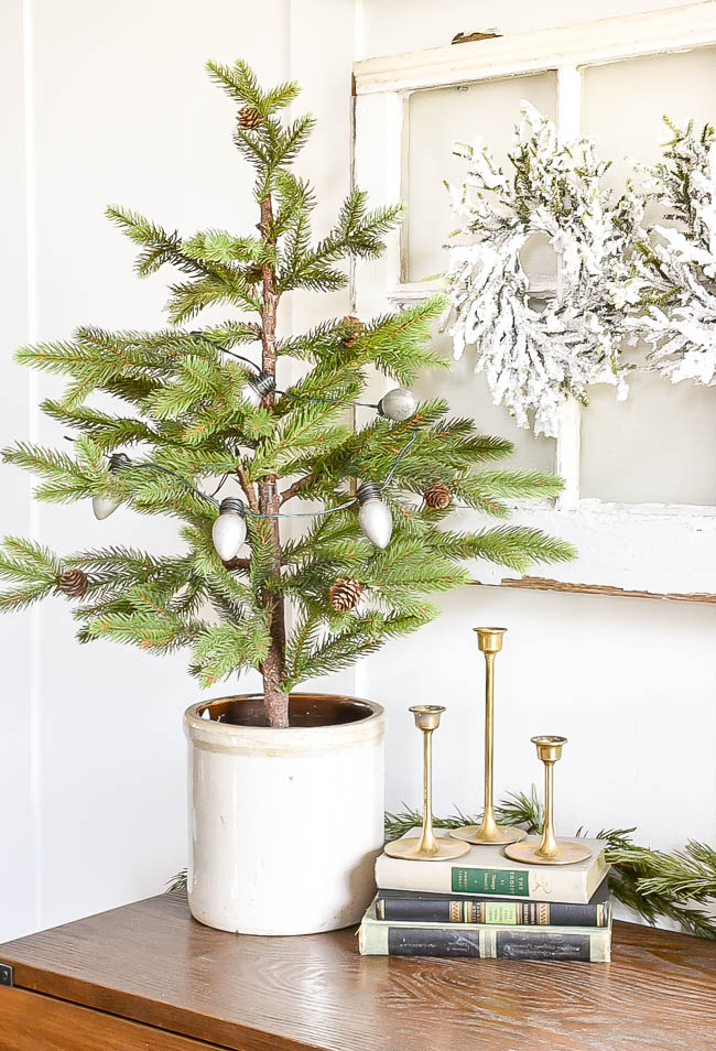 Christmas pin tree in vintage crock