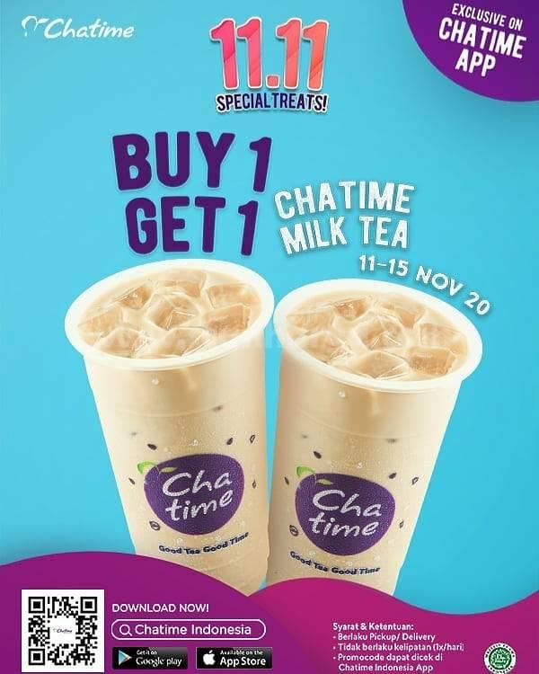 CHATIME Super Deal Promo 11.11 – BELI 1 GRATIS 1 CHATIME MILK TEA