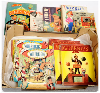 Other Whirligig items include printers proof mock-up annuals, Mr Turnip and Whirligig annuals, and puppet related literature. Some very interesting reading.