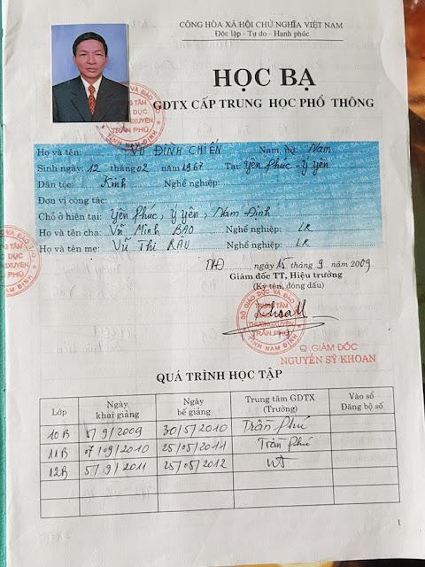 Nam Định: Chủ tịch mặt trận tổ quốc làm giả học bạ tinh vi để thăng tiến