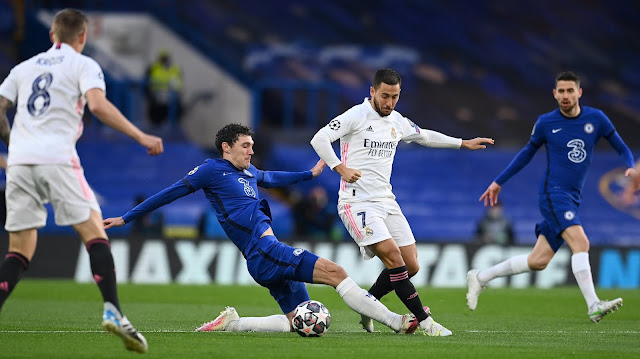Real Madrid forward Eden Hazard in action against Chelsea in the Champions League
