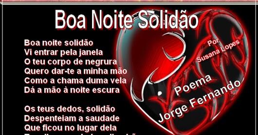 Poemas De Boa Noite: Molduras De Poemas De Fado ♥: Boa Noite Solidão