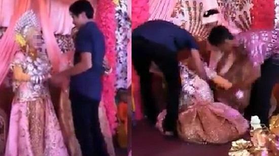 Viral! Video Pengantin Wanita Pingsan Saat Dipeluk Mantan di Pelaminan