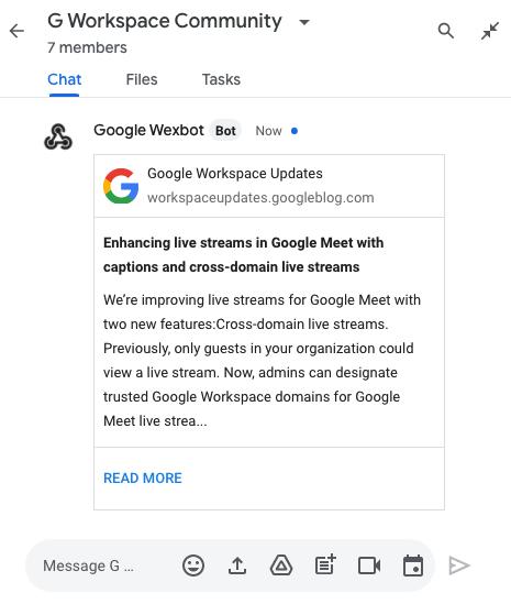 Image of Google Workspace Updates bot