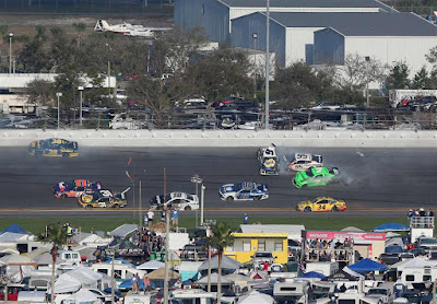 Danica Patrick was caught-up in a multi-car crash at the #NASCAR Daytona 500