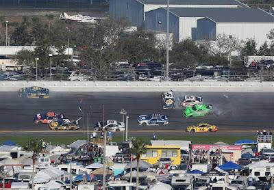 Danica Patrick was caught-up in a multi-car crash at the #NASCAR Daytona 500