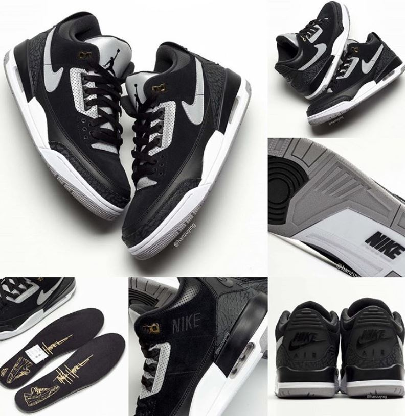 super popular 38ea2 68b1f Here is a look via ZSZ at the 2019 Air Jordan Retro 3 TH SP Black Cement  Grey-Metallic Gold-White CK4348-007 releasing August 15th, 2019 for  200.