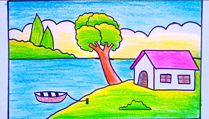 رسم منظر طبيعي بسيط وسهل رسم سهل وجميل
