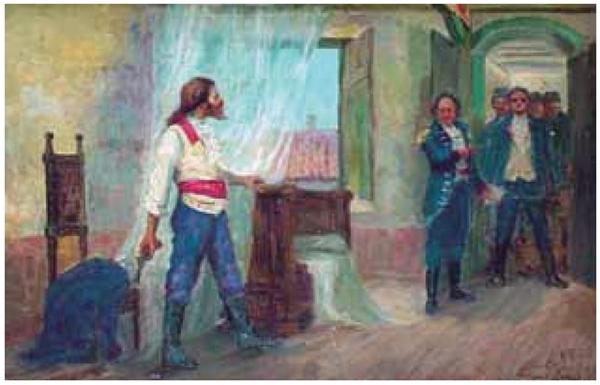 UNESP 2021: A obra Prisão de Tiradentes (datada de 1914), do pintor brasileiro Antônio Parreiras (1860-1937), remete a evento histórico relacionado ao seguinte movimento literário brasileiro