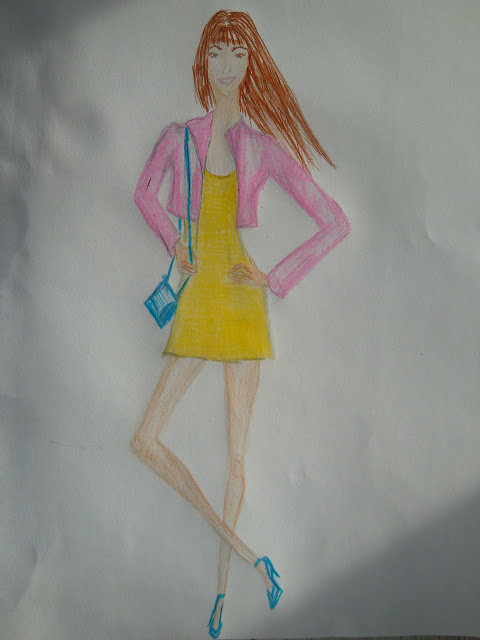 Fashion Illustration of the Day! #yellowdress #pink