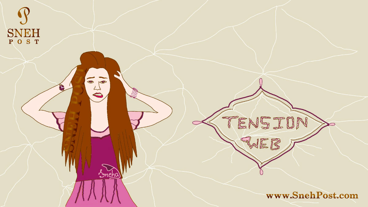 How to control tension with 20 brainy pros: Stressed fashionable girl scratching head in tension web cartoon by Sneha