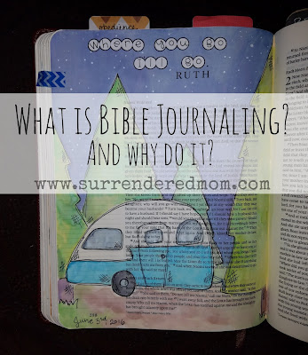 What is Bible Journaling? http://www.surrenderedmom.com #illustratedfaith #biblejournaling #journalingbible #journalingbiblecommunity #biblejournalingcommunity #faithart #artworship #ipaintinmybible