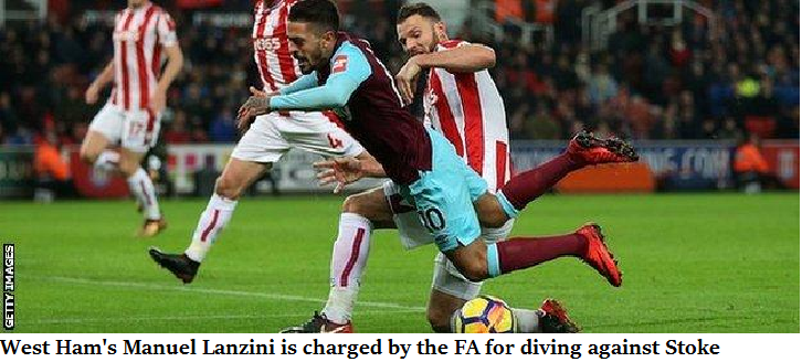 West Ham's Manuel Lanzini is charged by the FA for diving against Stoke